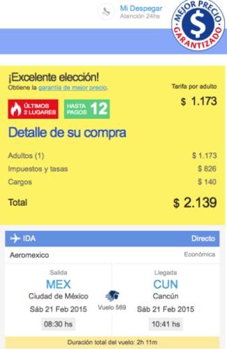 Vuelo Cancun 20pc descto