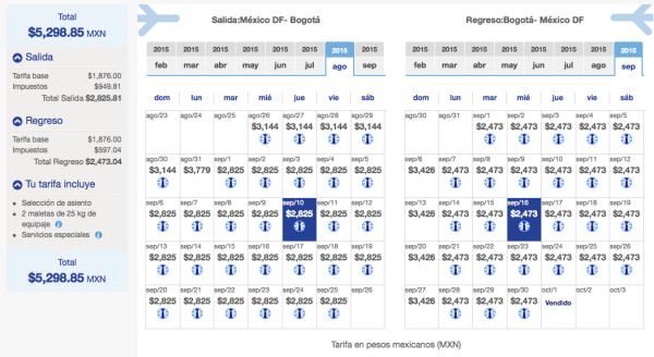 Vuelo Bogota Sept