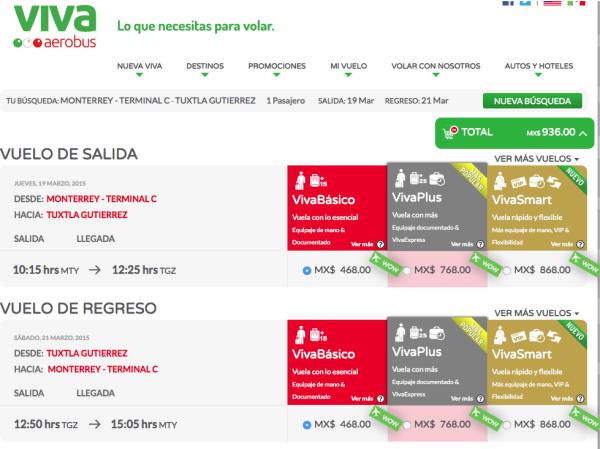 Vuelo redondo Monterrey_Tuxtl