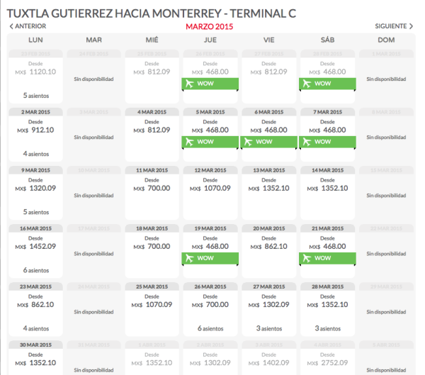 Vuelo regreso Tuxtla_Monterrey